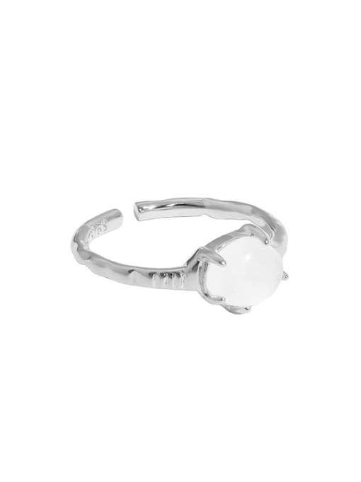 Platinum [13 adjustable] 925 Sterling Silver Opal Geometric Vintage Band Ring